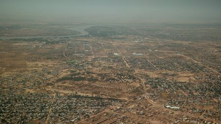 Aerial view to NDjamena and Chari or Chari river, capital of Chad