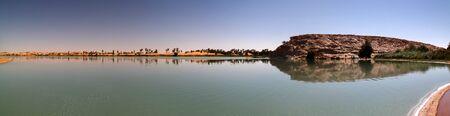 Panoramic view to Katam aka Baramar lake group of Ounianga kebir lakes , Ennedi, Chad Stock Photo