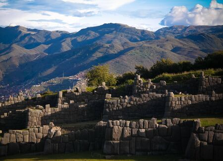 View to Sacsayhuaman UNESCO World Heritage site in Cusco, Peru Banque d'images