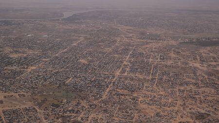 Aerial view to NDjamena and Chari or Chari river, capital of Chad