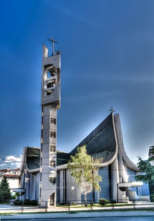 Exterior view to Catholic Church -Sacred Heart of Jesus in Skopje, North Macedonia