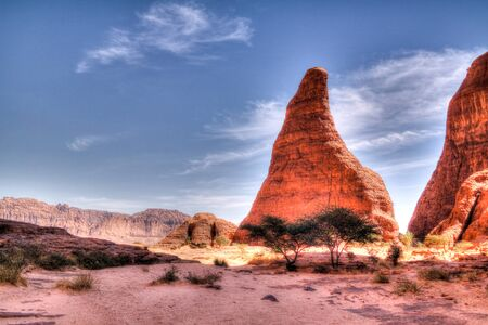 Abstract Rock formation at plateau Ennedi near Aloba arch , Chad