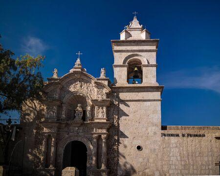 Exterior ciew to facade of Iglesia de San Juan Bautista de Yanahuara in Arequipa, Peru Stock Photo