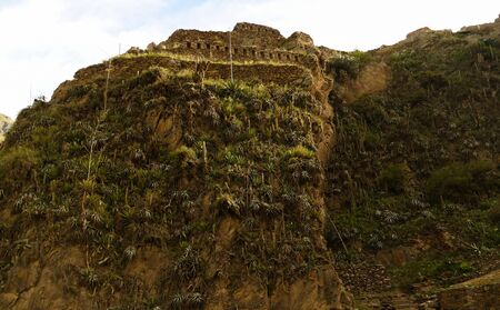 Panoramic view to Ollantaytambo archaeological site at Cuzco province, Peru