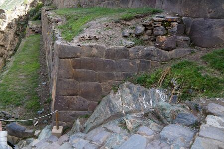 details of stone masonry at Ollantaytambo archaeological site at Cuzco province, Peru