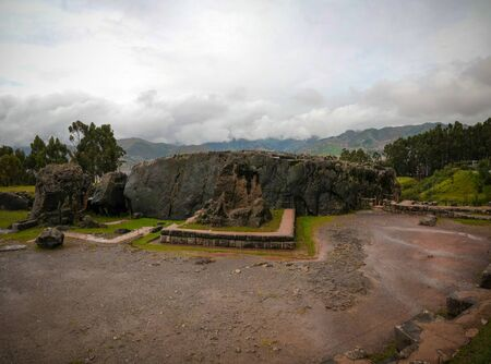 View to ruins of Qenqo or Kenko archaeological site , Cuzco, Peru Stock Photo