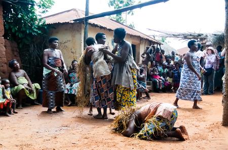 Portrait of Ewe aka Gen woman dancing woodoo dance. 01 November 2015 Anfoin, Togo Editorial