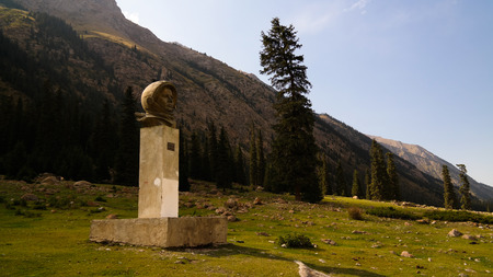 bust of Yuri Gagarin, first russian Cosmonaut, at the Barskoon canyon in Issyk-Kul, Kyrgyzstan Editorial