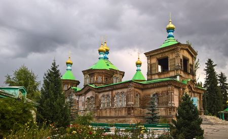 The Russian Orthodox Holy Trinity Cathedral in Karakol, Kyrgyzstan Editorial