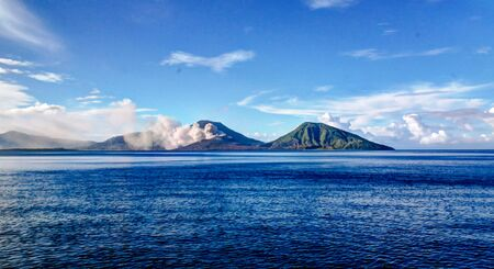 Eruption of Tavurvur volcano, Rabaul, New Britain island, Papua New Guinea Фото со стока