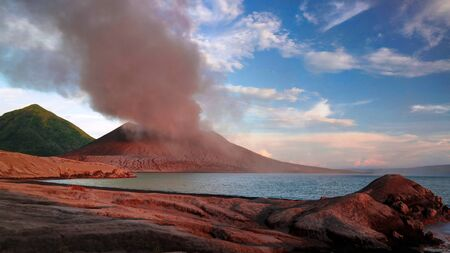Eruption of Tavurvur volcano at Rabaul, New Britain island, Papua New Guinea