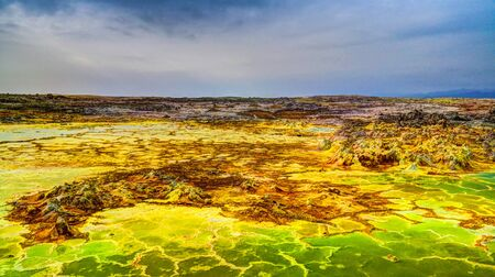 Panorama inside Dallol volcanic crater in Danakil depression, Afar, Ethiopia