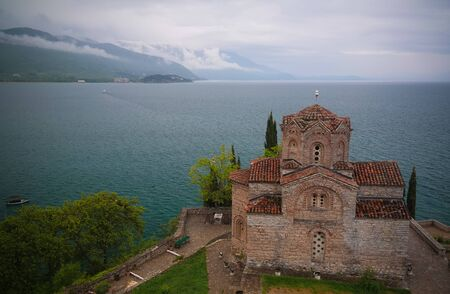 aerial Exterior view to St. John the Theologian Church in Ohrid, North Macedonia