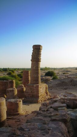 last standing pillars of Napatas temple of Amun at the foot of Jebel Barkal mountain in Karima, Sudan