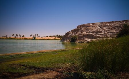 Panoramic view to Katam aka Baramar lake group of Ounianga kebir lakes , Ennedi, Chad