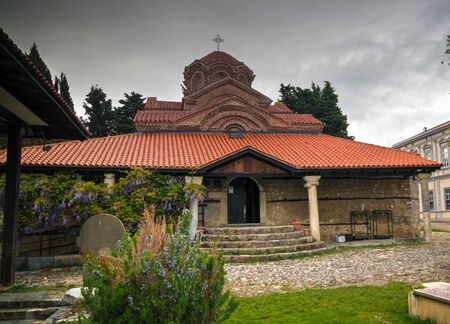 Exterior view to Holy Virgin mary Mary Perybleptos Church in Ohrid, North Macedonia