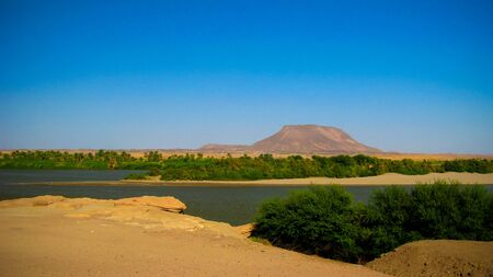Panoramic landscape with the Nile river near Sai island at Kerma, Sudan