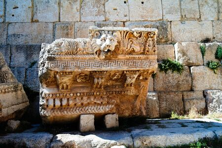 Details Ruins of Jupiter temple and great court of Heliopolis in Baalbek, Bekaa valley Lebanon