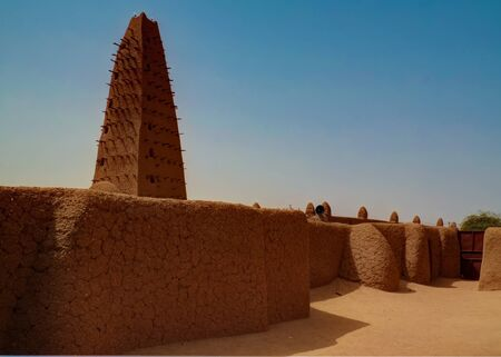 Exterior view to Grand mosque of Agadez in Niger Stock fotó
