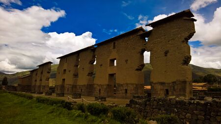 View to Temple of Wiracocha made with polygonal masonry at archaeological site of Raqchi at Cuzco, Peru