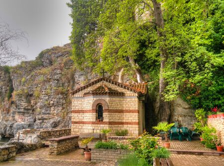 Exterior view to Nativity of the Holy Mother of God Church in Ohrid, North Macedonia