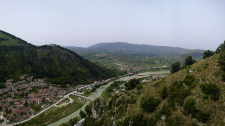 Panoramic aerial view to Berat old town and Osum river from Berat Castle in Albania Reklamní fotografie