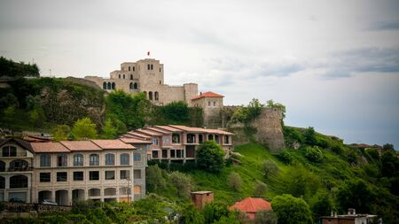 Landscape with ruins of Kruje castle in Albania Reklamní fotografie