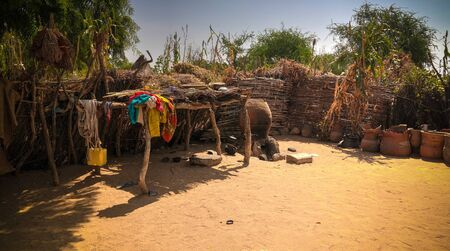 Lanscape with Mataya village of sara tribe aka Ngambaye or Madjingaye or Mbaye people, Guera, Chad