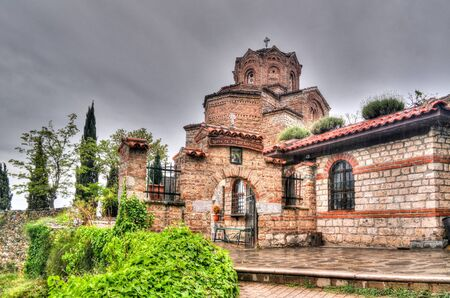 Exterior view to St. John the Theologian Church in Ohrid, North Macedonia