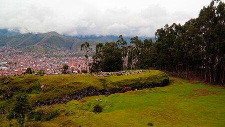 View to ruins of Qenqo or Kenko archaeological site , Cuzco, Peru 版權商用圖片