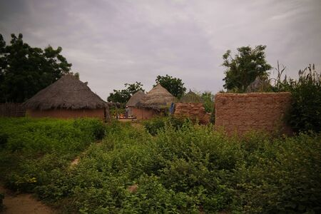 Panoramic view to Bkonni village of Hausa people near Tahoua, Niger 写真素材