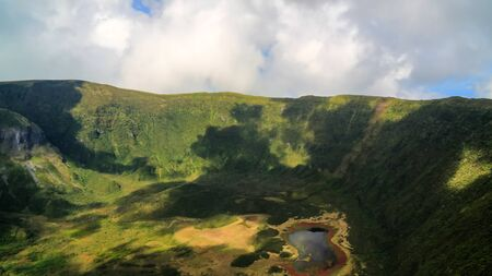Aerial view to Caldeira do Faial at Faial island, Azores, Portugal