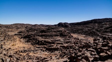 Aerial panoramic view to El Berdj mountain and erg gorge, Tassili nAjjer national park, Algeria