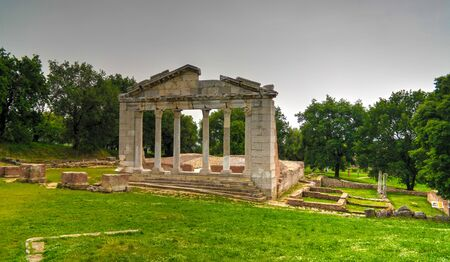 Monument of Agonothetes in Ruins of an ancient Greek city of Apollonia at Fier County, Albania Stock Photo