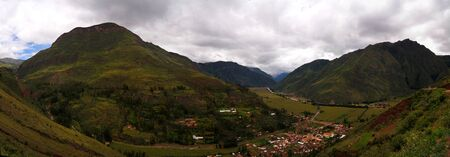 Aerial Landscape panoramic view to Urubamba river and sacred valley from Taray viewpoint near Pisac at Cuzco, Peru