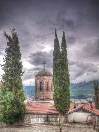 Exterior view to Presveta Bogorodica Kamensko Church in Ohrid, North Macedonia
