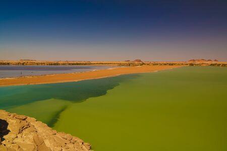 Aerial Panoramic view to Katam aka Baramar lake group of Ounianga kebir lakes , Ennedi, Chad