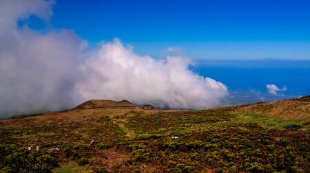 Panorama landscape from the slope of Pico volcano at hiking at azores, Portugal Фото со стока