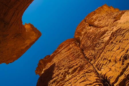 Bottom-up view to Abstract Rock formation at plateau Ennedi aka stone forest , Chad Stock fotó