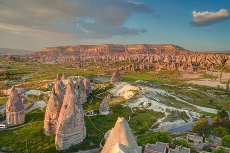 Sunset panoramic view to Goreme city and pigeon valley Cappadocia, Turkey