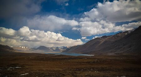 Panoramic view to lakes at Barskoon pass, river and gorge and Sarymoynak pass at Jeti-Oguz, Kyrgyzstan