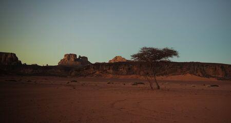 Sunrise view to Moul Naga valley at in Tassili nAjjer national park in Algeria