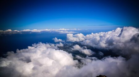 Panorama landscape from the top of Pico volcano at hiking at azores, Portugal 스톡 콘텐츠