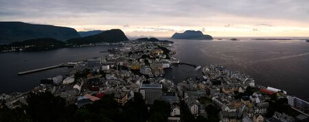 Sunset panorama view to Alesund from Fjellstua viewpoint at Norway