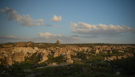 Sunset panoramic view to Goreme city and Gorkundere valley Cappadocia, Turkey