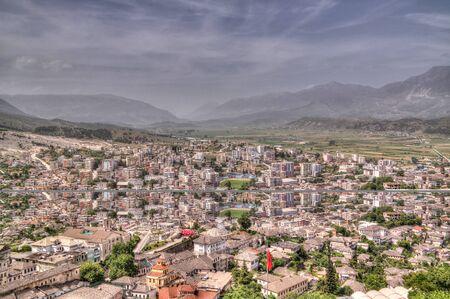 Aerial panoramic view to Gjirokaster city in Albania 스톡 콘텐츠 - 133301130