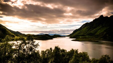 Sea panoramic view to ingelsfjorden at Hinnoya, Lofoten, Norway
