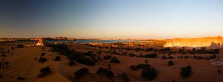 Aerial sunrise Panoramic view to Yoa lake group of Ounianga kebir lakes , Ennedi, Chad