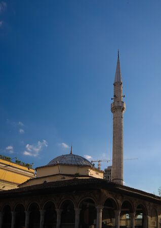 Exterior view to Ethem Bey Mosque at Skanderbeg square in Tirana, Albania