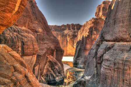 aerial Panorama inside canyon aka Guelta dArchei, East Ennedi, Chad 스톡 콘텐츠